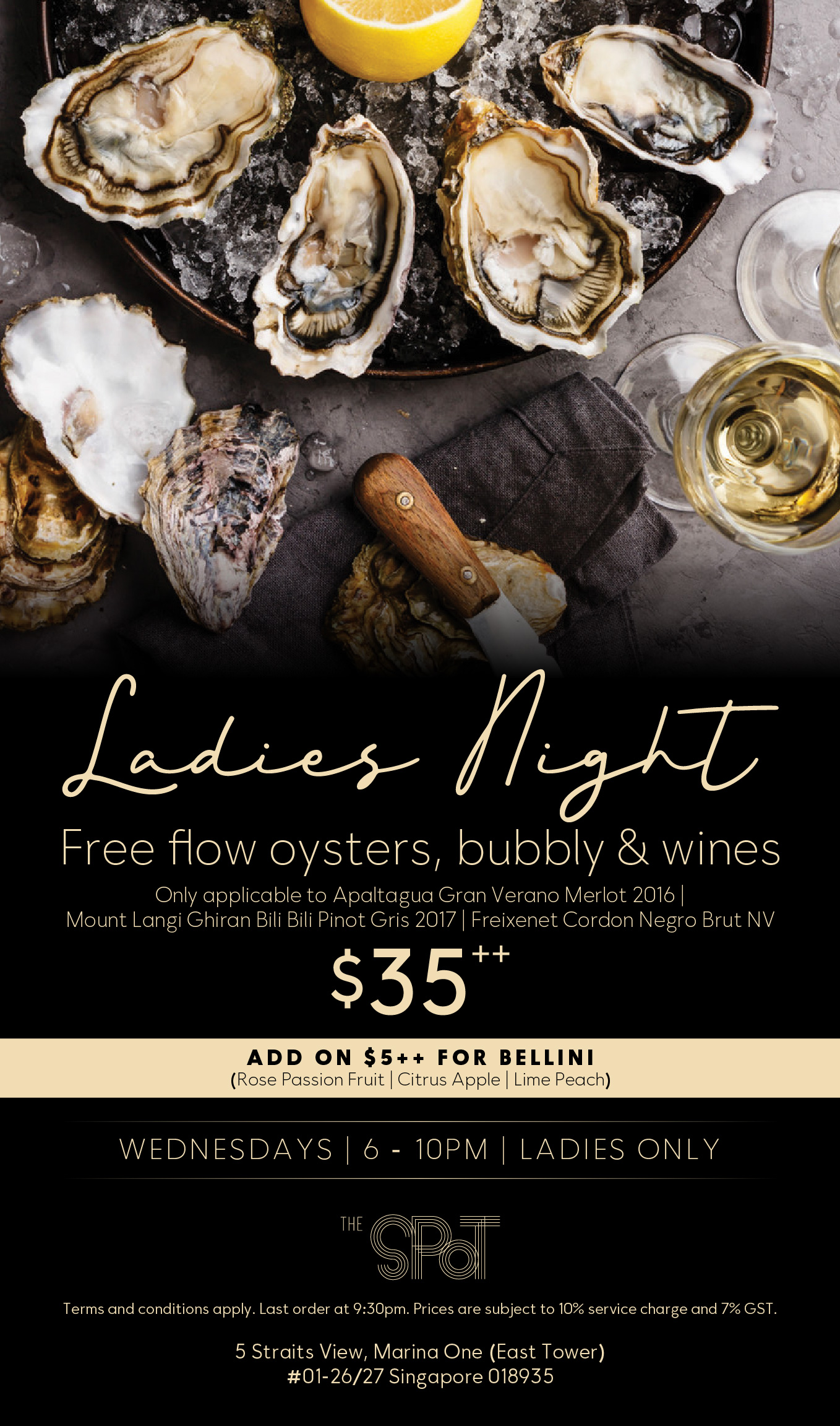 Ladies Night at The Spot Singapore, Marina One, with Free Flow Oysters and Drinks on Wednesday Nights