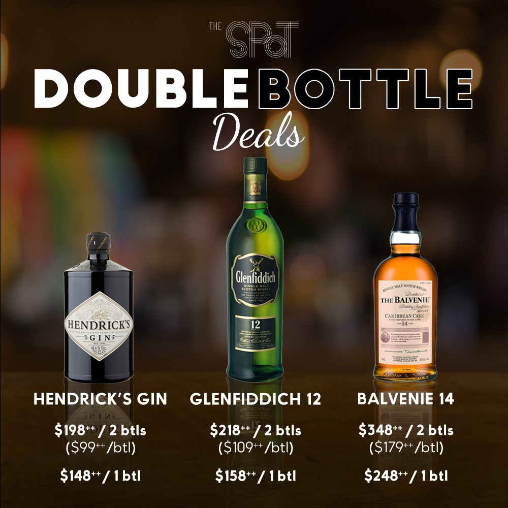 Double bottle deals for gin and whisky at discounted price when you buy 2 bottles together at The Spot