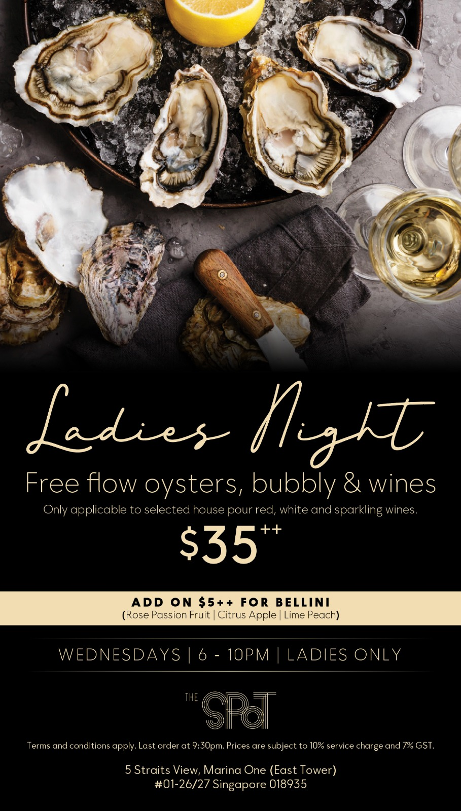 Ladies Night Promotion in Singapore with free-flow oysters and alcohol