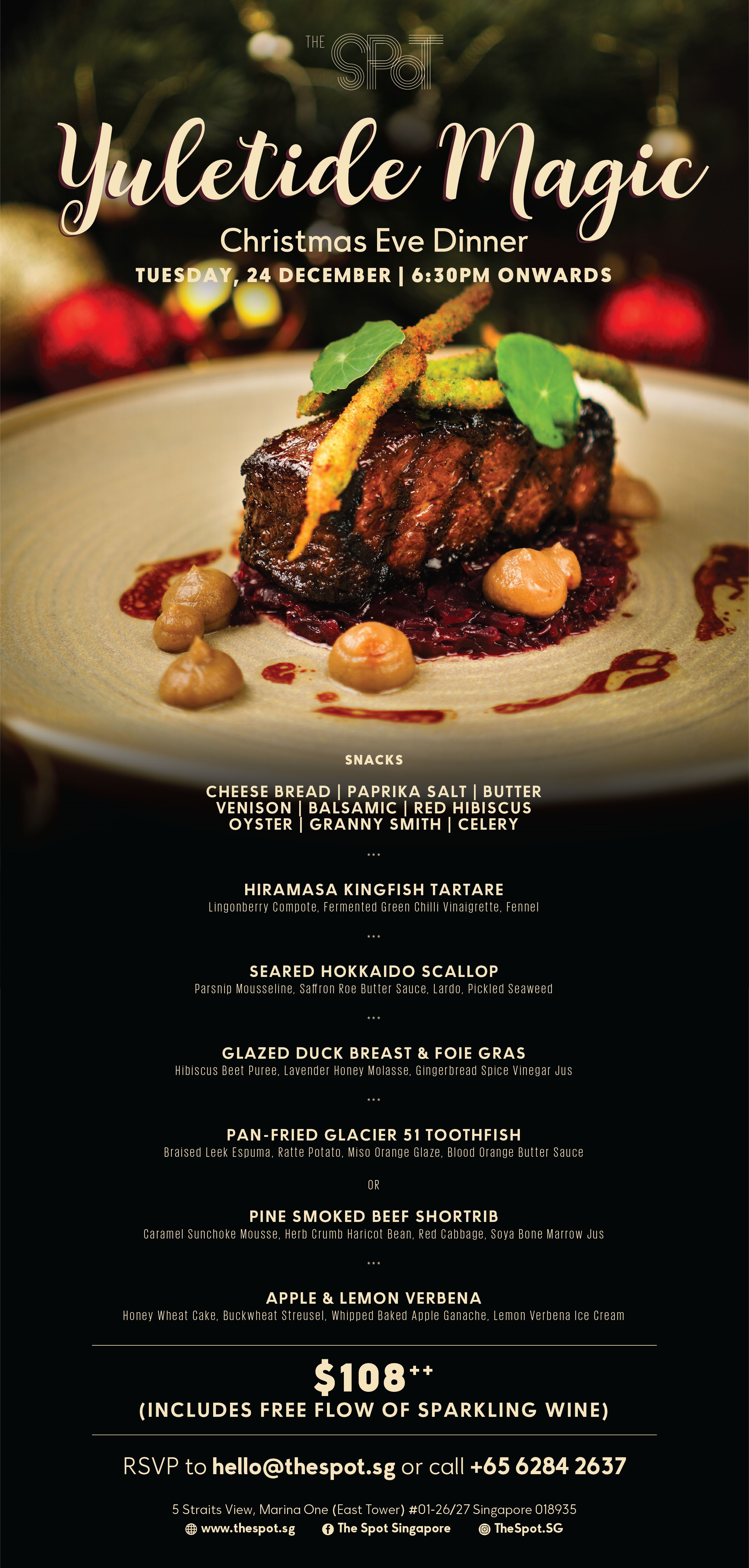 Christmas eve dinner at The Spot Singapore, featuring a 6 course dinner menu, including sparkling wines. Great for a festive gathering with your family and friends.